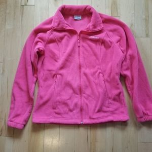 Columbia zip up bright pink fleece jacket medium